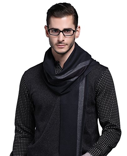 Brushed Silk Scarf, Luxury Fashion Perfect Neck Wrap Winter Accessory (Navy Chequered) ()