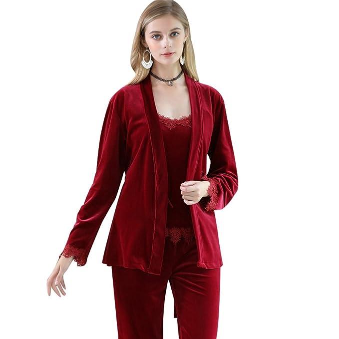 YiLianDa Mujer Pijamas 3-In-1 Camisones Manga Larga Pantalones Pijamas Vino Rojo XL