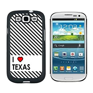 I Love Heart Texas - Snap On Hard Protective Case for Samsung Galaxy S3 - Black by icecream design