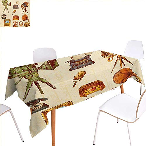 familytaste Vintage Patterned Tablecloth Retro Technologic Telephone Camera Television and Gramophone Artwork Dust-Proof Oblong Tablecloth 60