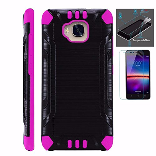 [WORLD ACC For Huawei Ascend XT Case + Tempered Glass Screen Protector / Slim Dual Layer Brushed Texture Armor Hybrid TPU Combat Phone Cover (Black/Pink)