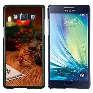 KLONGSHOP // Cubierta de piel con cierre a presión Shell trasero duro de goma Protección Caso - Velas de Navidad y tarjetas - Samsung Galaxy A5 A5000 //