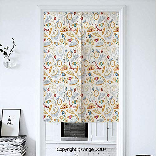 AngelDOU Pearls Door Curtains Home Decor Modern Valances Pattern with Accessories Diamond Rings and Earring Figures Image Digital Print Decorative Room Divider for Bedroom Kitchen. 33.5x47.2 -
