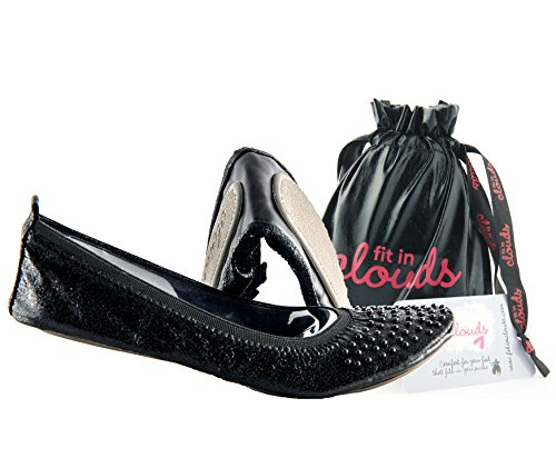 Ballet Flat Quilted Womens Shoe - Fit in Clouds Stud Embellished Foldable Flats with Carry Pouch - 11 Black