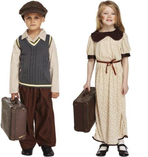 [Boys Girls Child's WW1 WW2 Wartime Evacuee Refugee Fancy Dress Costume Outfit 4-12 years (7-9 years, Boys) by Fancy Me] (Evacuee Costume Ww1)