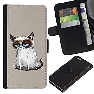 KingStore / Leather Etui en cuir / Apple Iphone 6 / Pintura enojado divertido Angry Cat