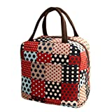 Lunch Handbag Among Thermal Insulated Tote Picnic Cool Canvas Bag Cooler Pouch Waterproof Zipper Boxes (Red)