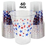60 Pack - Plastic Disposable Party Cups, 16 Ounce with USA Stars Print Party Cups, ideal for 4th July; Independence Day & Veteran's Day