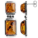 Honey Amber Sterling Silver Rectangular Earrings