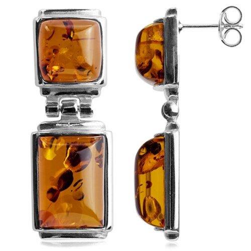 Honey Amber Sterling Silver Rectangular Earrings by Ian & Valeri Co.