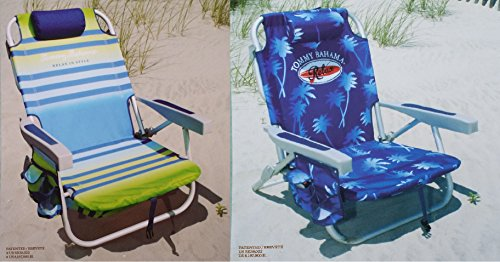 Tommy Bahama 2 2015 Backpack Cooler Chairs with Storage Pouch and Towel Bar 1 Green Striped and 1 Blue