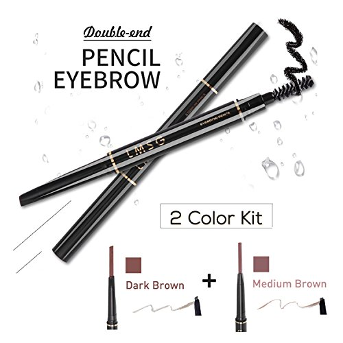 Brow Definer Automatic Brow Pencil - 2 Pack Eyebrow Pencil with Brush Waterproof Anti-sweat Color Replaceable Automatic Brow Liner Makeup Stylist for Women (dark brown+medium brown)
