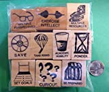Quality Custom Rubber Stamps Scholarly Traits, Set of 10 Wood-Mounted Rubber Stamps Carved Wooden Stamps