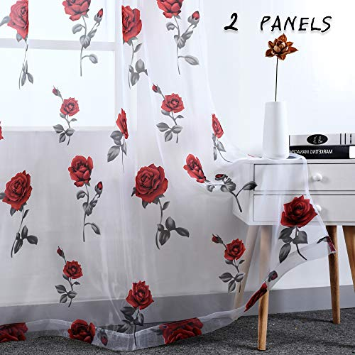 HUTO Rod Pocket Sheer Curtains for Living Room 84 Inches Long Red Rose Curtain Panels Sheer Drapes for Girl Bedroom,2 Panels