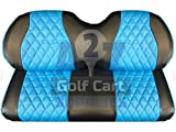 EZGO RXV Front Golf Cart Seat Covers | Diamond Stitching | Black & Blue |