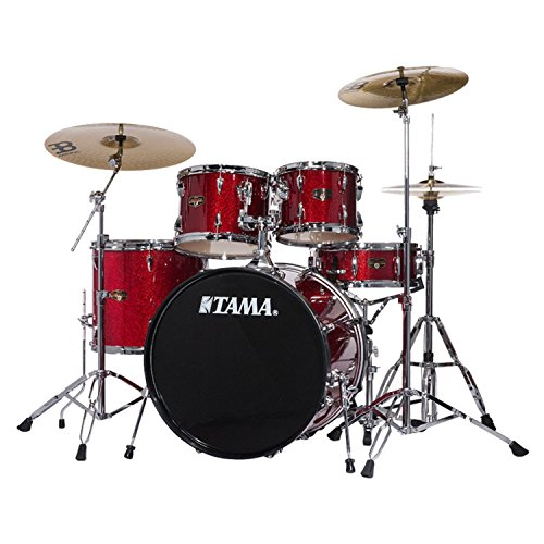 TAMA IP52NCCPM Imperialstar 5pc Complete Drum Set Kit with 22″ Bass Drum & Hardware, Cymbals in Candy Apple Mist
