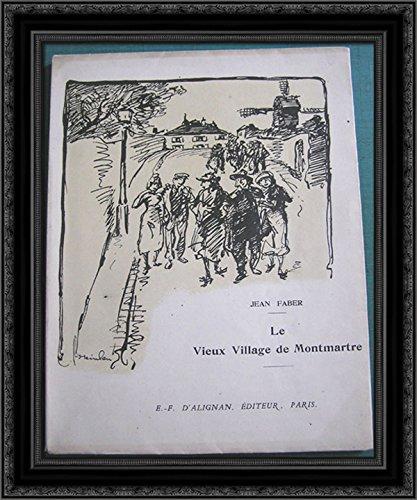 Le Vieux Village de Montmartre 24x20 Black Ornate Wood Framed Canvas Art by Theophile Steinlen (Vieux Village)