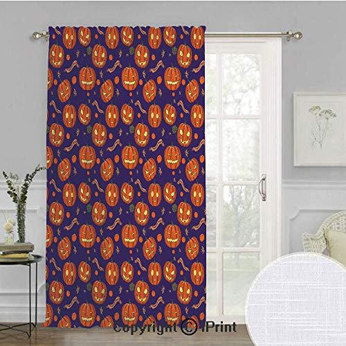SoSung Halloween Extra Wide Chiffon Sheer Curtain,Pumpkins Pattern Different Face Expressions Happy Angry Scary Puzzled,for Large Window/Sliding Glass Door/Patio Door,100x84inch,Orange Indigo Yellow -