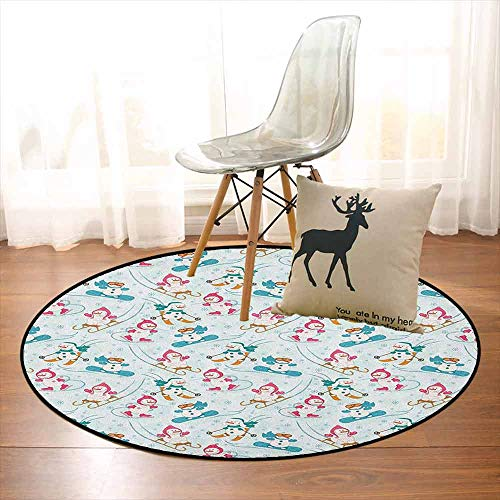 (Kids 3D Printed Round Carpet Snowman Skiing on Hills Winter Cold Nursery Boys Girls Baby Playroom Cartoon for Partial Areas D59 Inch Pale Sea Green Pink)