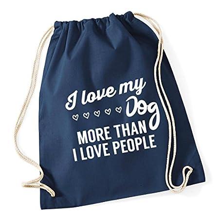 HippoWarehouse I love my dog more than I love people Drawstring Cotton School Gym Kid Bag Sack 37cm x 46cm, 12 litres 51v 2BM7cYFJL