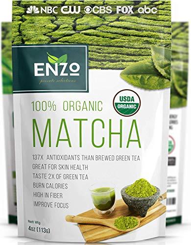 Matcha Green Tea Powder 4oz – Organic Vegan Milky Taste USDA Certified – 137x Antioxidants Over Brewed Green Tea – Great…