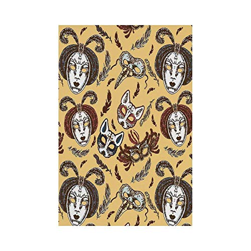 - Polyester Garden Flag Outdoor Flag House Flag Banner,Masquerade,Venetian Style Paper Mache Face Mask With Feathers Dance Event Theme,Mustard Brown White,for Wedding Anniversary Home Outdoor Garden Dec