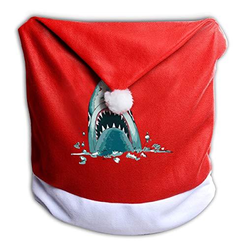 EveXi Shark Santa Hat Chair Covers, Santa Clause Red Hat Chair Back Covers Kitchen Chair Covers Sets for Christmas Holiday Festive Decor