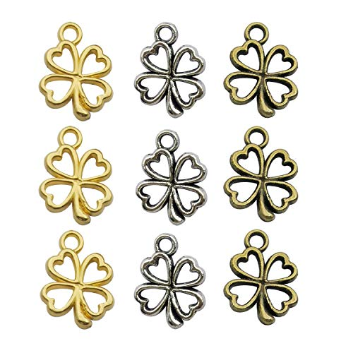 Youdiyla 120pcs Four Leaf Clover Charms Collection, Silver+Bronze+Gold Tone, Mix 4 loaf chover Lucky Clover Charms, St Patricks Irish Metal Pendant Supplies Findings for Jewelry Making (HM253)