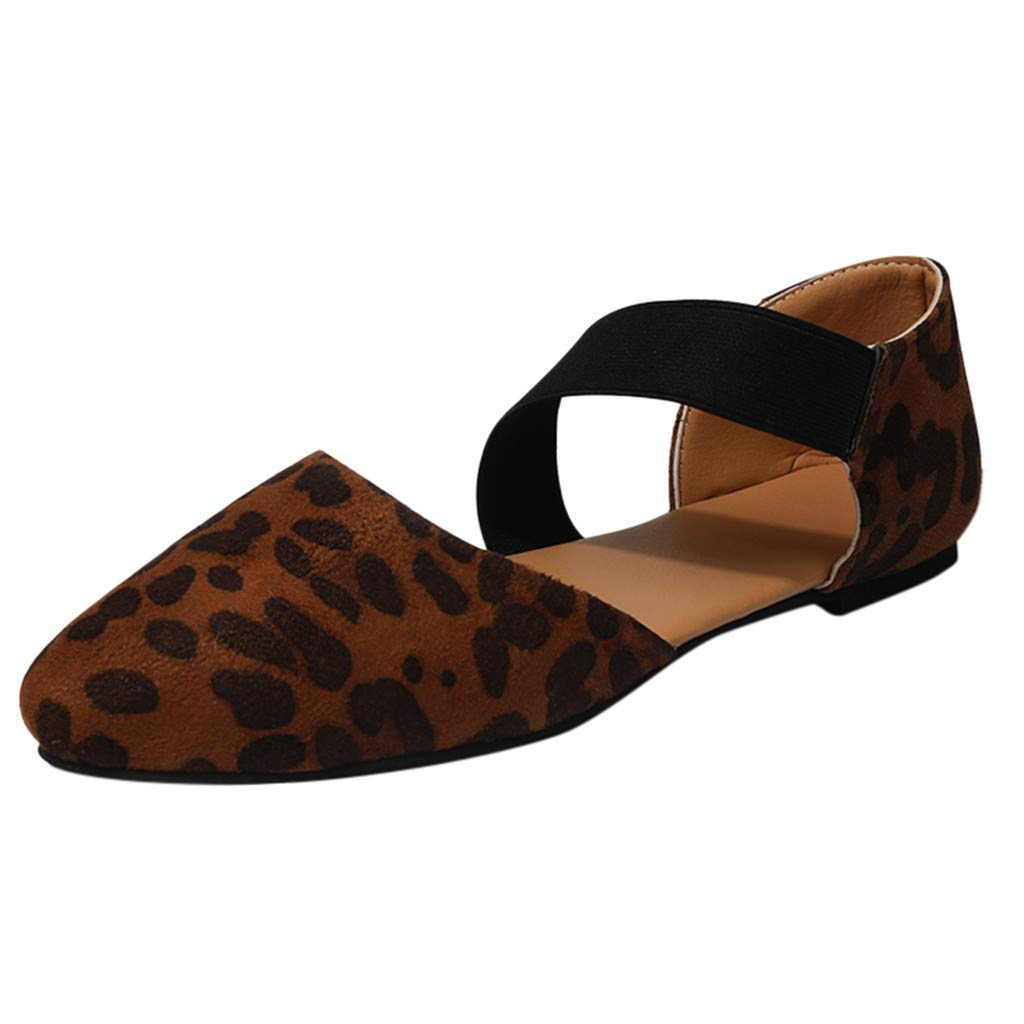 2019 Spring Womens Ankle Cross-Tied Strap Single Band Sandal Comfortable Office Heeled Flat Leopard Single Shoes (C_Brown, US:6) by Hotcl