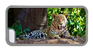 Hipster funny iPhone 5C covers jaguar forest TPU Transparent for Apple iPhone 5C