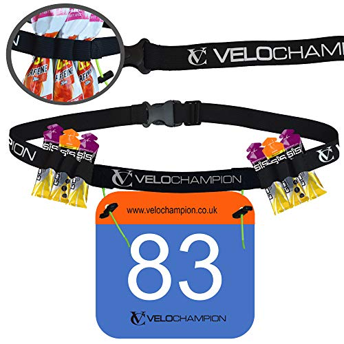 (VeloChampion Triathlon Marathon bib Holders for Runners Running Race Number Card Belt 6 Gel Paste Pack Hydration Holder)