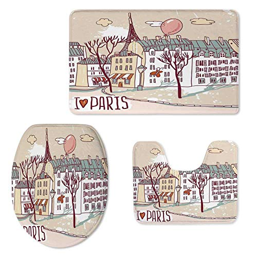 (Paris Soft Three Piece Toilet Seat,Illustration of Paris with Old City Buildings and Eiffel Urban Street Balloon for Toilet,ONE Size)