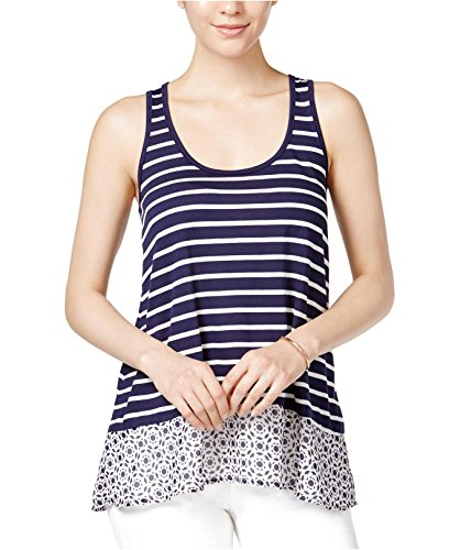 Maison Jules Striped Contrast Tank Top Blu Notte Combo ()