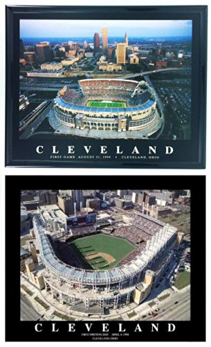 Framed Cleveland Browns and Indians - First Energy Stadium & Progressive Field Framed Prints (Set of 2)