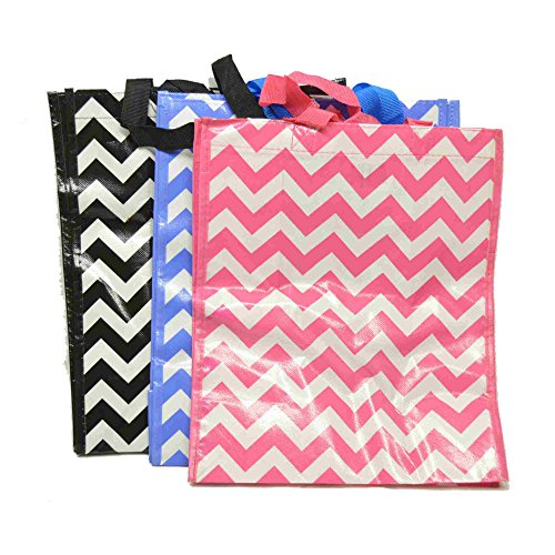 - Multi-pack of 3 Nylon-Reinforced Vinyl Reusable Foldable Shopping Tote or Grocery Bag - Zig Zag