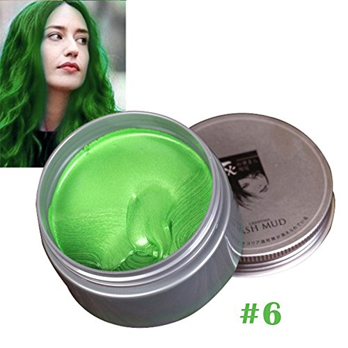 Cocohot 7 Colors Temporary Hair Dye Cream Hair Color Mud Wax, Instant DIY Hairstyle Max Modeling Cream for Party, Cosplay, Nightclub, Masquerade, Halloween (Green) -