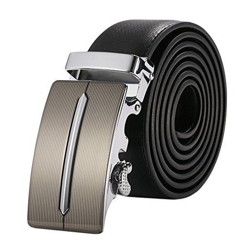 HAUT TON Men's Genuine Leather Automatic Belt Buckle (Ratchet Costume)