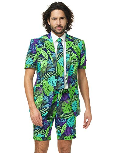 OppoSuits Men's Summer Suit - Juicy Jungle - Includes Shorts, Short-Sleeved Jacket & Tie -