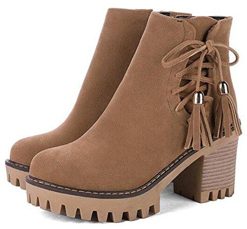 IDIFU Womens Dressy Cross Bandage High Chunky Heels Faux Suede Ankle Boots With Side Zipper Brown 9UvUfj6kk8