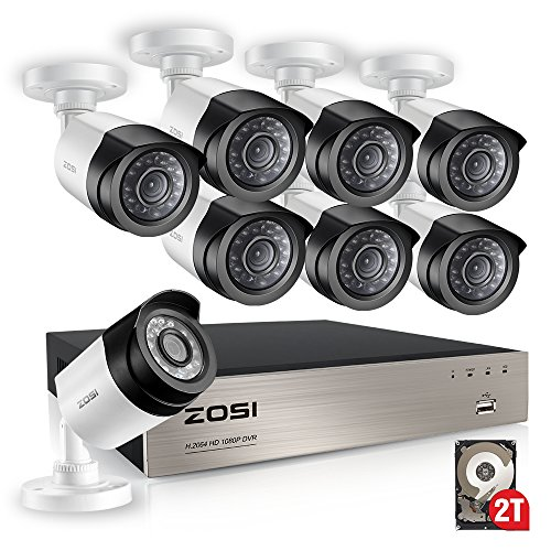 ZOSI FULL 1080P HD-TVI Video Color Security System 8 Channel DVR Reorder w/8x2.0 Megapixel 1080P Weatherproof Indoor outdoor Bullet Cameras 2TB Hard Drive Smartphone& PC Easy Remote Access Weatherproof Color Video Security Camera