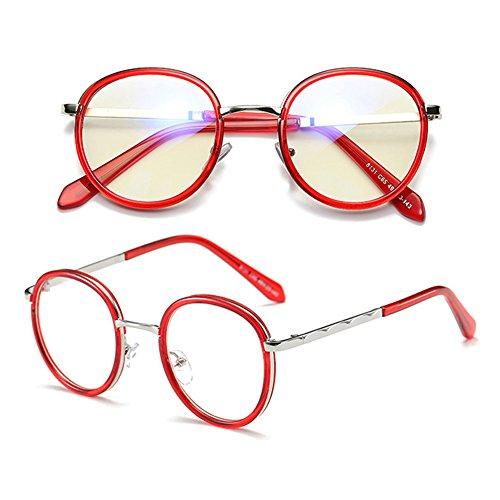 Verres d'objectif de nouvelles sans anti Armature neutres lentille force métal design en verres bleus rondes de lunettes Burgundy Retro Hzjundasi O7qw17