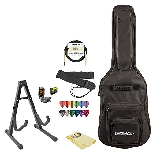 Electric Guitar Accessory Pack with Gig Bag, Stand, Strap, Cable, Lesson, Pick Holder, Tuner, Cloth and Picks by ChromaCast