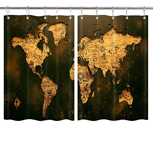 Retro World Map Kitchen Curtains, Shabby Old Map Nautical Chart Antique Artwork Premium Decor Window Drapes Curtains 2 Panels, Upgrade Window Treatment Sets with Hooks, 55X39Inches (Chart Panel Window Size)
