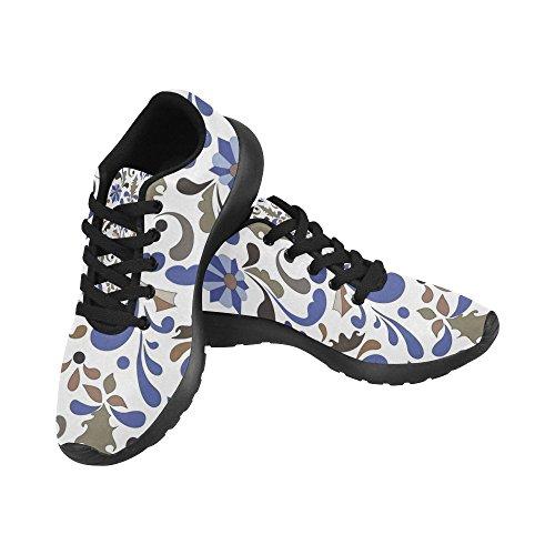 Interestprint Mujeres Running Shoes Jogging Ligero Deportes Walking Athletic Sneaker Vintage Floral Leaves Multi 6