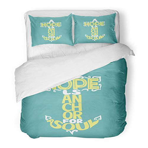SanChic Duvet Cover Set Gospel Hand Lettering Hope Is Anchor for the Soul on Blue Christian Bible Verse Scripture Jesus Decorative Bedding Set with Pillow Sham Twin Size by SanChic