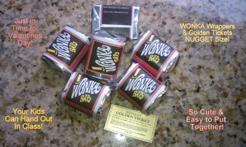 (30) NUGGET SIZED-WILLY WONKA CHOCOLATE BAR WRAPPERS & GOLDEN TICKETS-no chocolate included (Willy Wonka Chocolate Candy Bar)