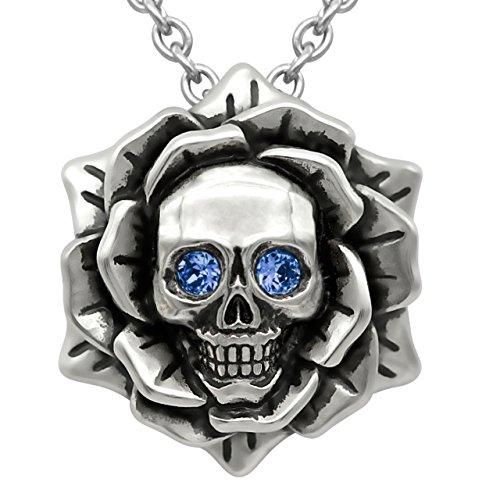 Skull Rose Birthstone Necklace with Swarovski Crystal 17 - 19 Adjustable Chain (09-September