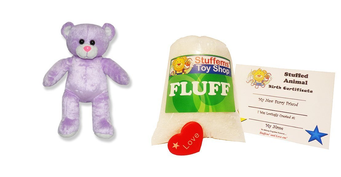 No Sewing Required! Make Your Own Stuffed Animal Mini 8 Inch Purple Embossed Heart Bear Kit