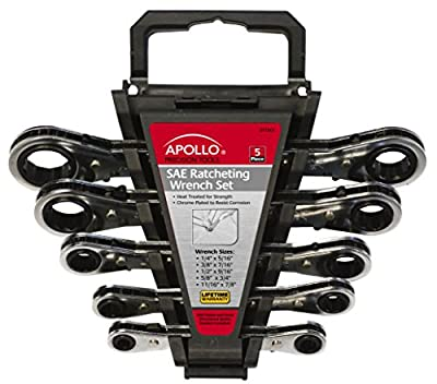 Apollo Tools DT1213 5Piece Ratcheting Wrench Set