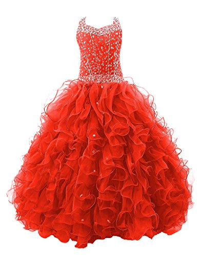 (Baoji Girls' Crystal Body Straps Layered Ball Gown Ruffles Pageant Dresses 8 US Red)